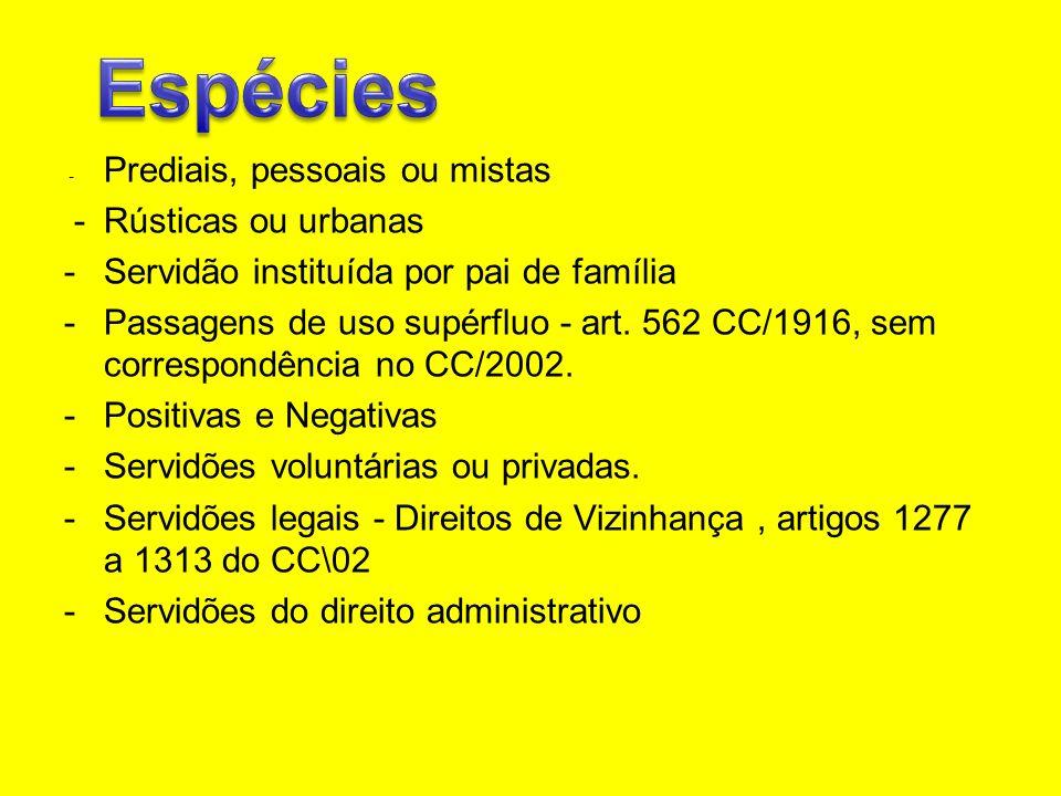 Espécies - Rústicas ou urbanas Servidão instituída por pai de família