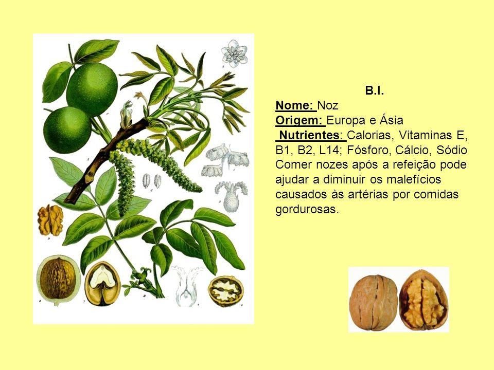B.I. Nome: Noz. Origem: Europa e Ásia. Nutrientes: Calorias, Vitaminas E, B1, B2, L14; Fósforo, Cálcio, Sódio.