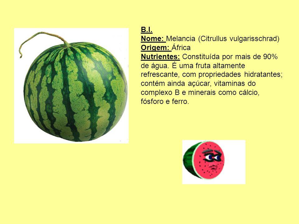 B.I. Nome: Melancia (Citrullus vulgarisschrad) Origem: África.