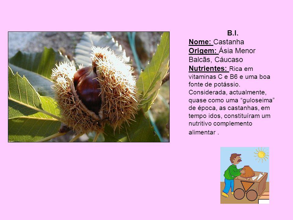 B.I. Nome: Castanha. Origem: Ásia Menor Balcãs, Cáucaso.