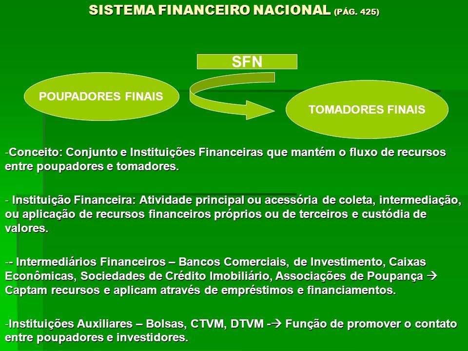 SISTEMA FINANCEIRO NACIONAL (PÁG. 425)