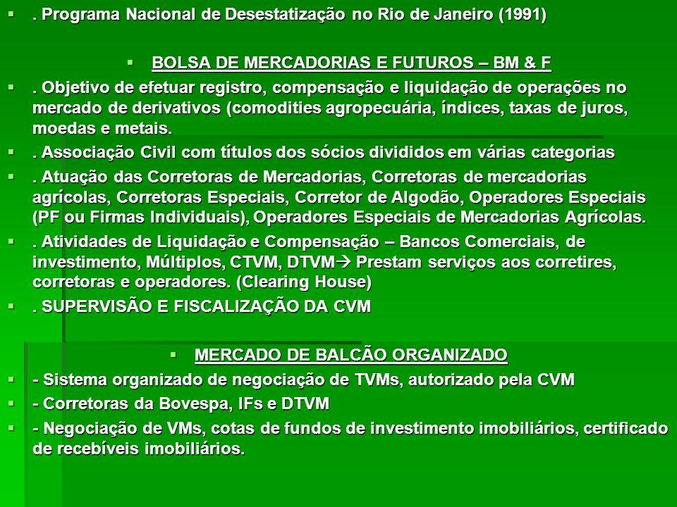 BOLSA DE MERCADORIAS E FUTUROS – BM & F MERCADO DE BALCÃO ORGANIZADO