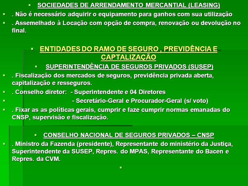ENTIDADES DO RAMO DE SEGURO , PREVIDÊNCIA E CAPTALIZAÇÃO