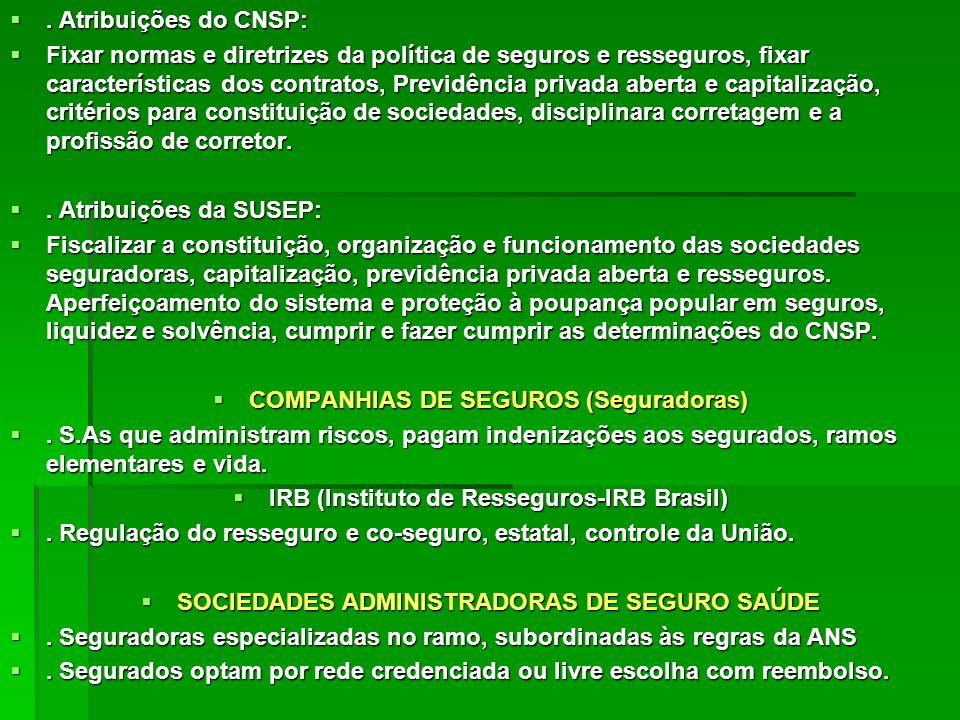 COMPANHIAS DE SEGUROS (Seguradoras)