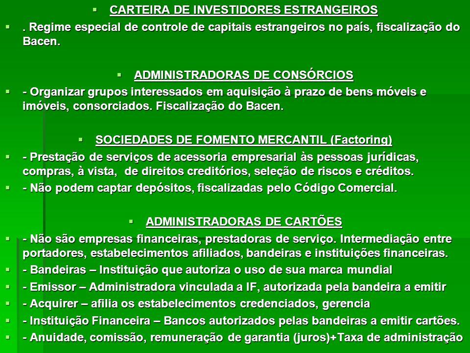 CARTEIRA DE INVESTIDORES ESTRANGEIROS