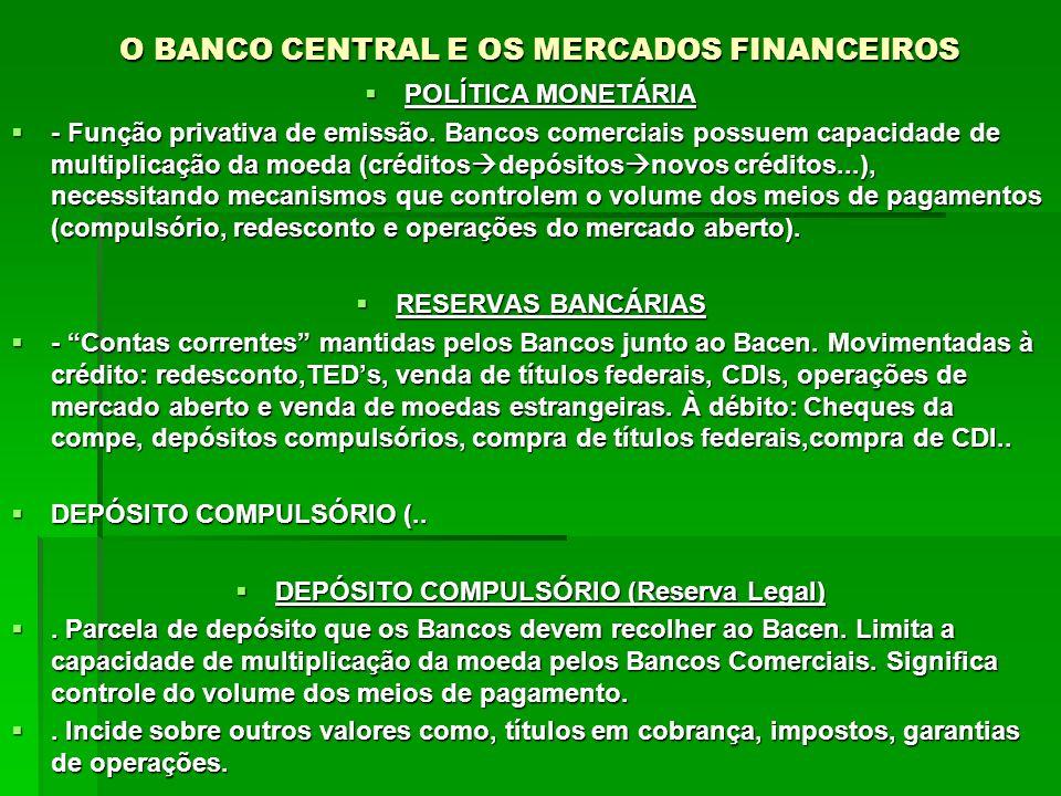 O BANCO CENTRAL E OS MERCADOS FINANCEIROS