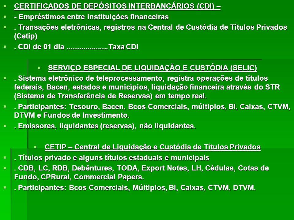 CERTIFICADOS DE DEPÓSITOS INTERBANCÁRIOS (CDI) –