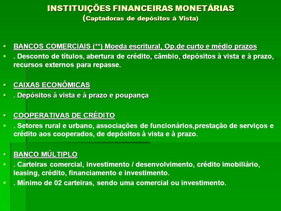 INSTITUIÇÕES FINANCEIRAS MONETÁRIAS (Captadoras de depósitos à Vista)