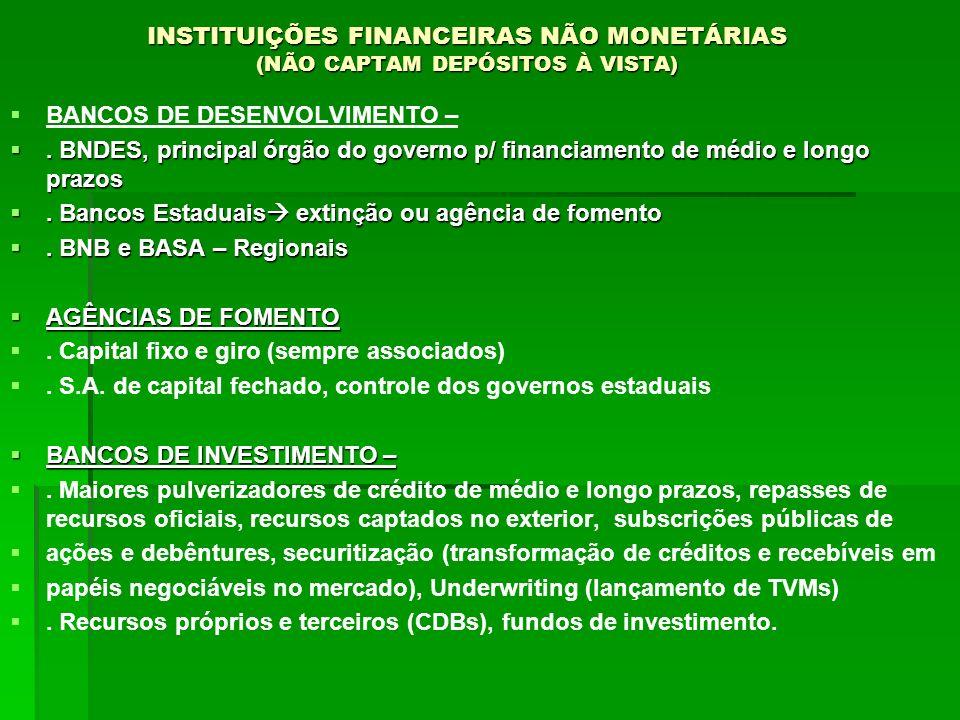 INSTITUIÇÕES FINANCEIRAS NÃO MONETÁRIAS (NÃO CAPTAM DEPÓSITOS À VISTA)