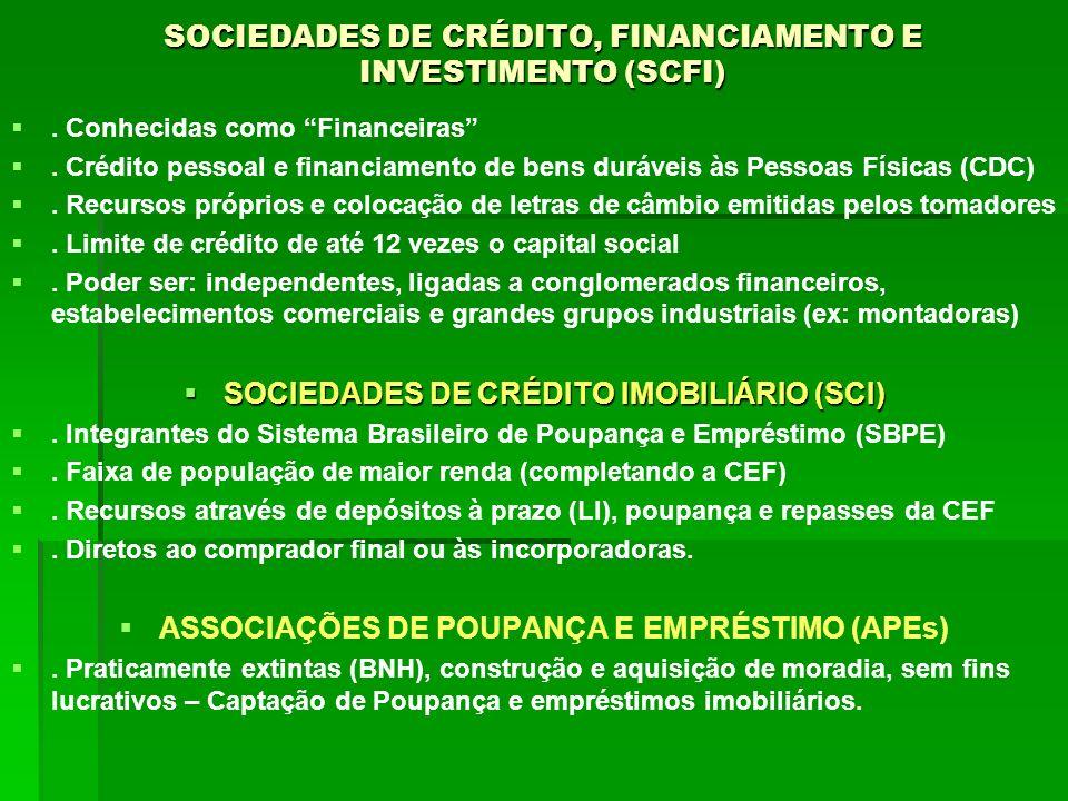 SOCIEDADES DE CRÉDITO, FINANCIAMENTO E INVESTIMENTO (SCFI)