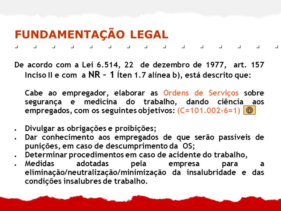 FUNDAMENTAÇÃO LEGAL De acordo com a Lei 6.514, 22 de dezembro de 1977, art. 157 Inciso II e com a NR – 1 Íten 1.7 alínea b), está descrito que: