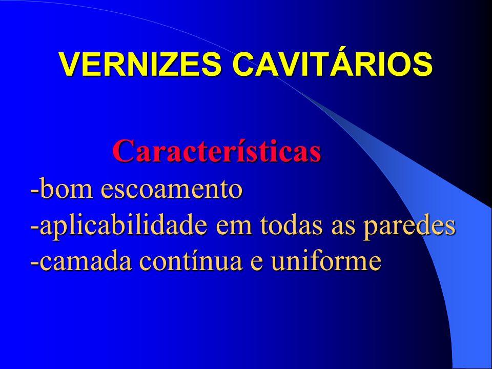 VERNIZES CAVITÁRIOS Características -bom escoamento