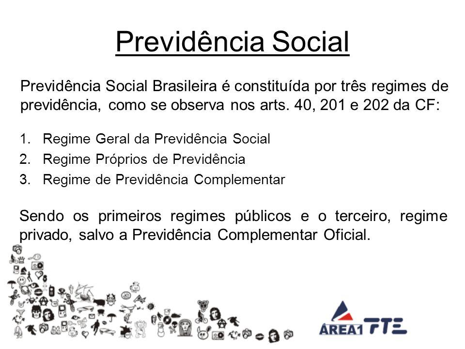 Previdência Social Previdência Social Brasileira é constituída por três regimes de previdência, como se observa nos arts. 40, 201 e 202 da CF: