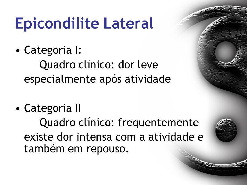 Epicondilite Lateral Categoria I: Quadro clínico: dor leve