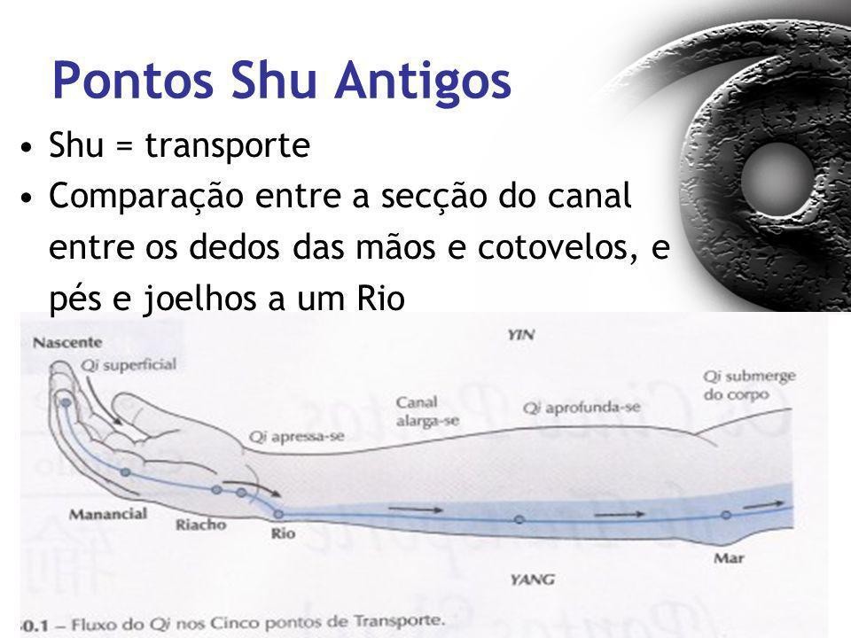 Pontos Shu Antigos Shu = transporte Comparação entre a secção do canal