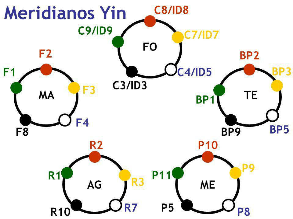 Meridianos Yin C8/ID8 C9/ID9 C7/ID7 FO F2 BP2 F1 C4/ID5 BP3 C3/ID3 F3