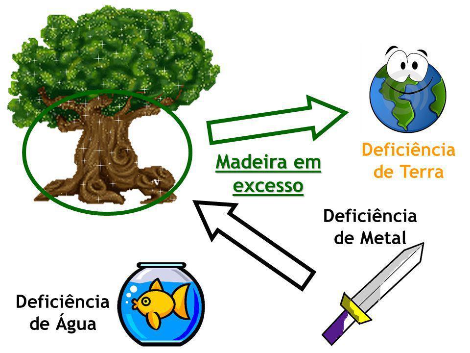 Madeira em excesso Deficiência de Terra Deficiência de Metal