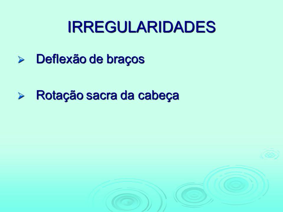 IRREGULARIDADES Deflexão de braços Rotação sacra da cabeça