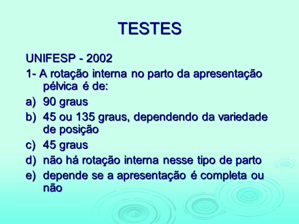 TESTES UNIFESP - 2002. 1- A rotação interna no parto da apresentação pélvica é de: a) 90 graus.