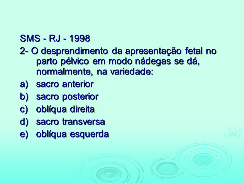 SMS - RJ - 1998 2- O desprendimento da apresentação fetal no parto pélvico em modo nádegas se dá, normalmente, na variedade: