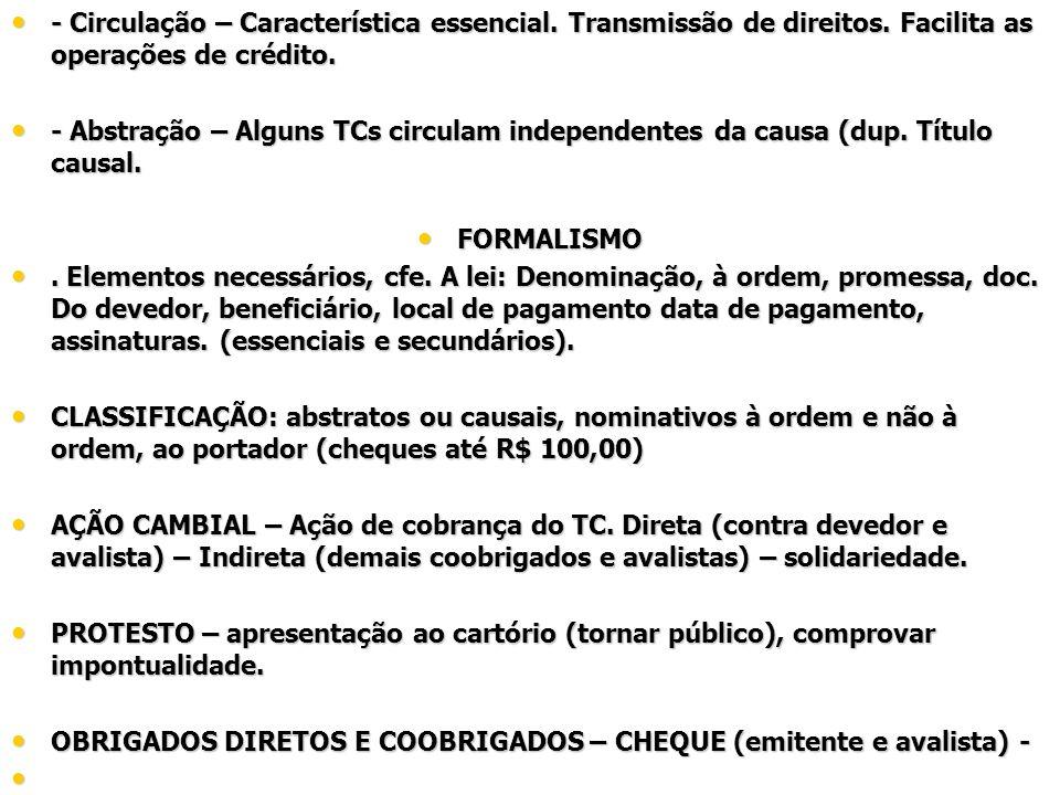 - Circulação – Característica essencial. Transmissão de direitos