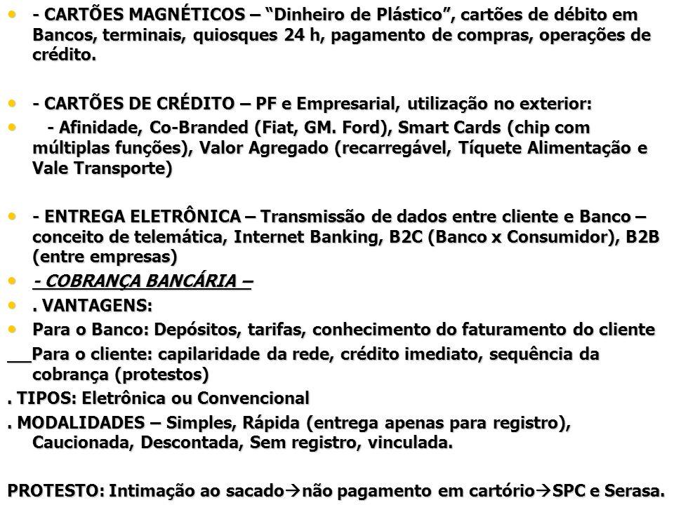 - CARTÕES MAGNÉTICOS – Dinheiro de Plástico , cartões de débito em Bancos, terminais, quiosques 24 h, pagamento de compras, operações de crédito.