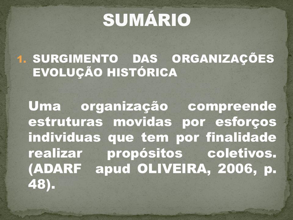 SUMÁRIO SURGIMENTO DAS ORGANIZAÇÕES EVOLUÇÃO HISTÓRICA.