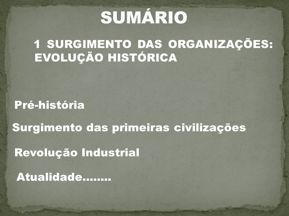 SUMÁRIO 1 SURGIMENTO DAS ORGANIZAÇÕES: EVOLUÇÃO HISTÓRICA Pré-história