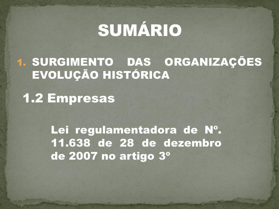 SUMÁRIO 1.2 Empresas SURGIMENTO DAS ORGANIZAÇÕES EVOLUÇÃO HISTÓRICA
