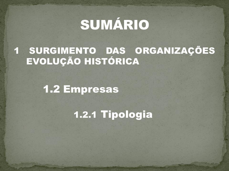SUMÁRIO 1.2 Empresas 1 SURGIMENTO DAS ORGANIZAÇÕES EVOLUÇÃO HISTÓRICA