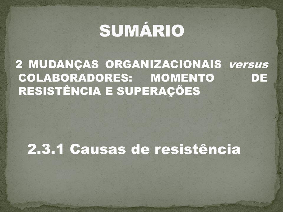SUMÁRIO 2.3.1 Causas de resistência
