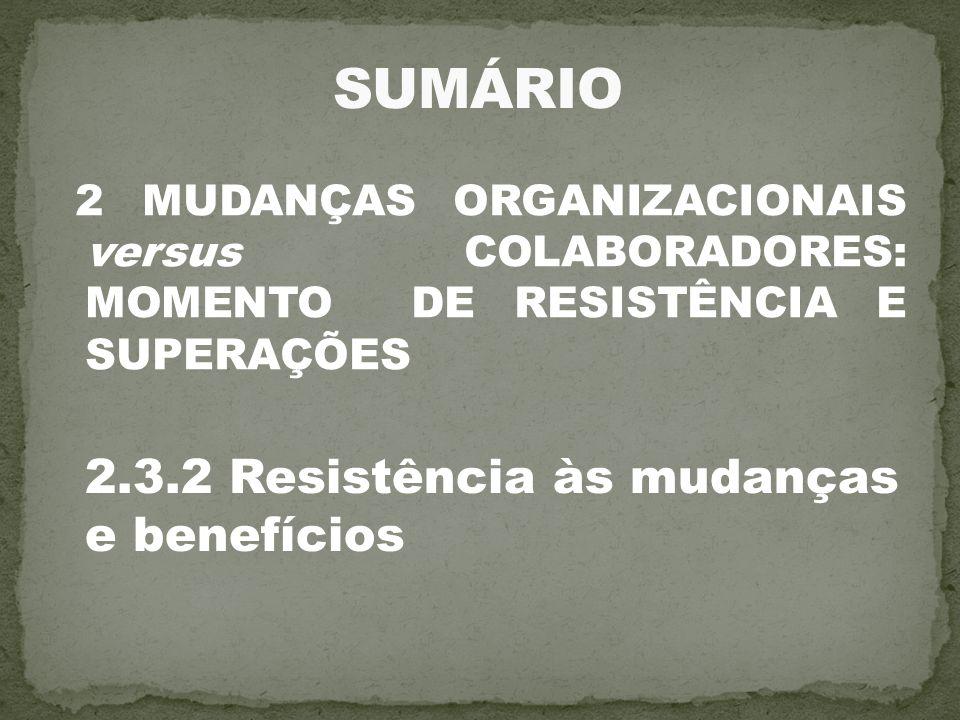 SUMÁRIO 2.3.2 Resistência às mudanças e benefícios