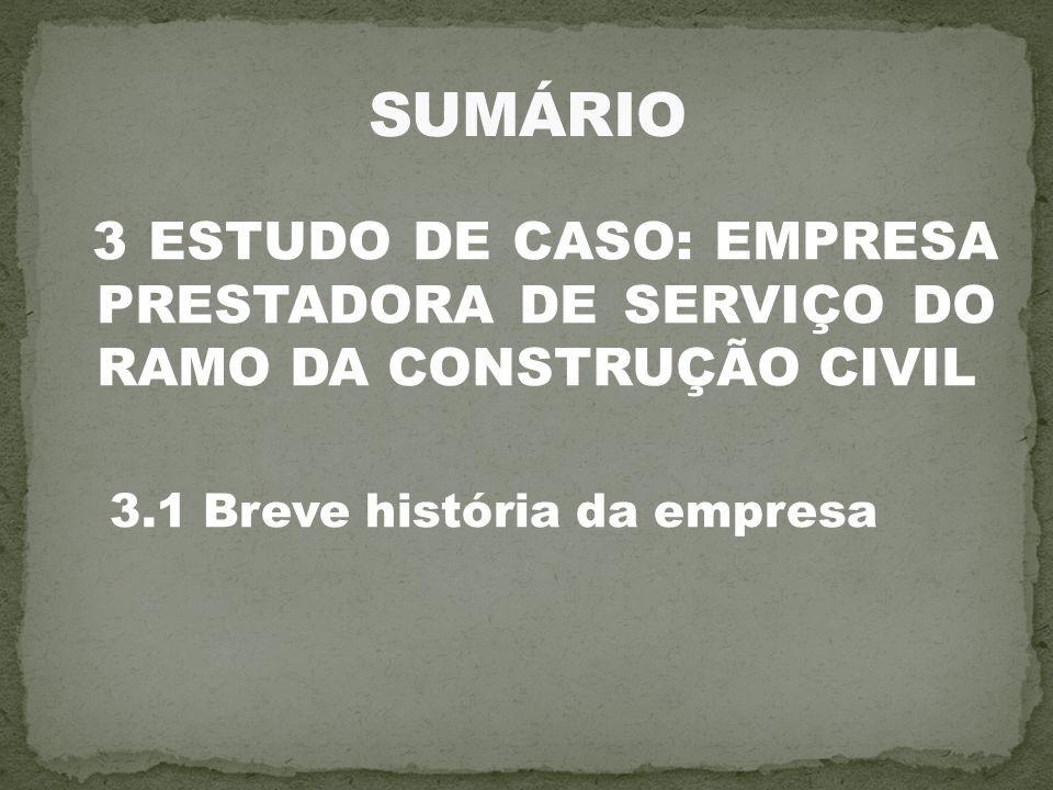 SUMÁRIO 3 ESTUDO DE CASO: EMPRESA PRESTADORA DE SERVIÇO DO RAMO DA CONSTRUÇÃO CIVIL.