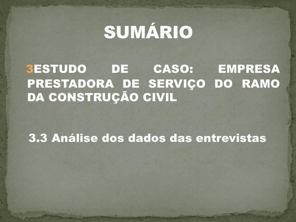 SUMÁRIO 3ESTUDO DE CASO: EMPRESA PRESTADORA DE SERVIÇO DO RAMO DA CONSTRUÇÃO CIVIL.