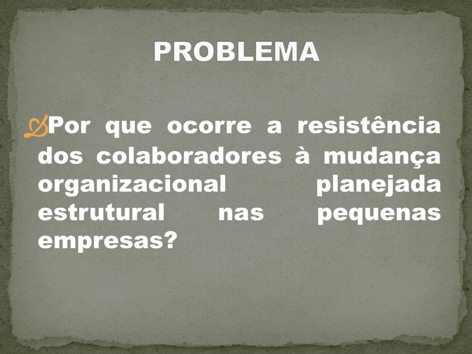PROBLEMA Por que ocorre a resistência dos colaboradores à mudança organizacional planejada estrutural nas pequenas empresas