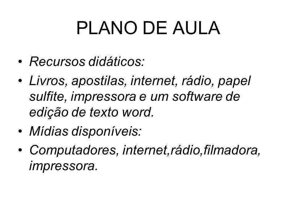 PLANO DE AULA Recursos didáticos: