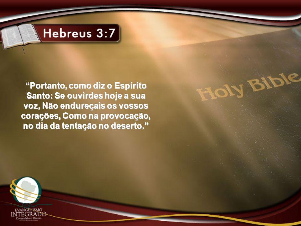 Portanto, como diz o Espírito Santo: Se ouvirdes hoje a sua voz, Não endureçais os vossos corações, Como na provocação, no dia da tentação no deserto.