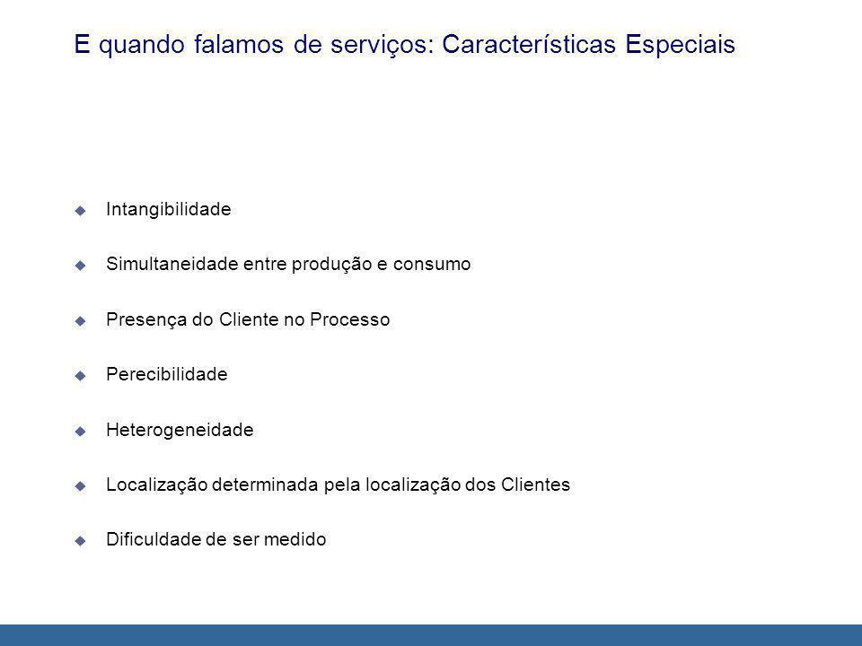 E quando falamos de serviços: Características Especiais