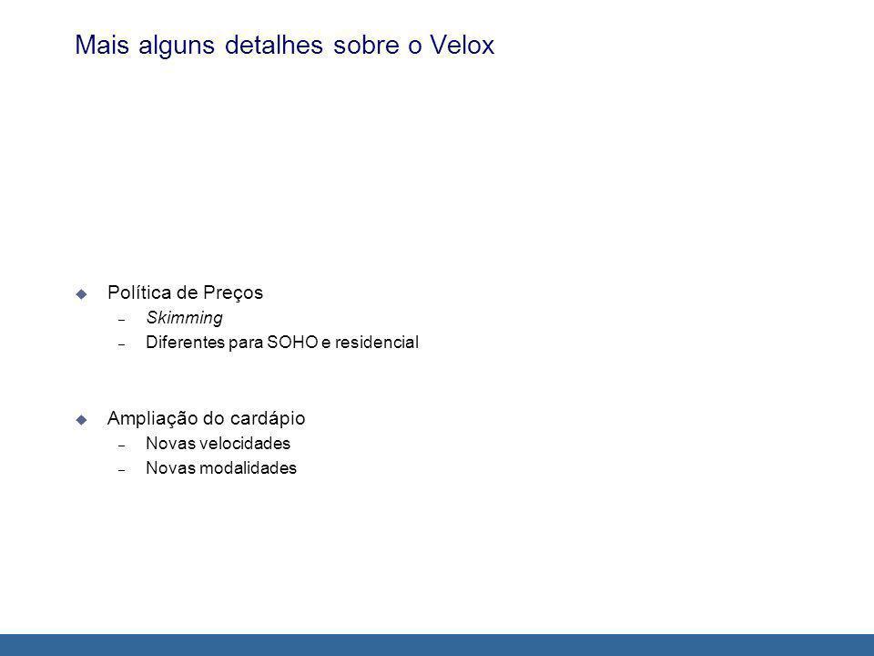Mais alguns detalhes sobre o Velox