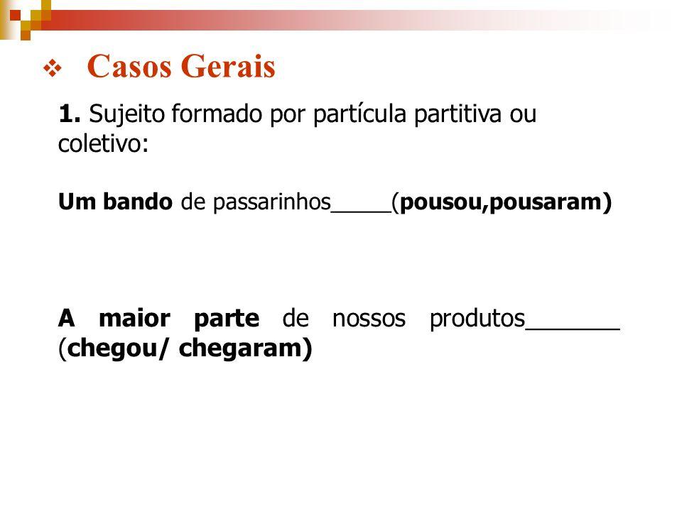 Casos Gerais 1. Sujeito formado por partícula partitiva ou coletivo: