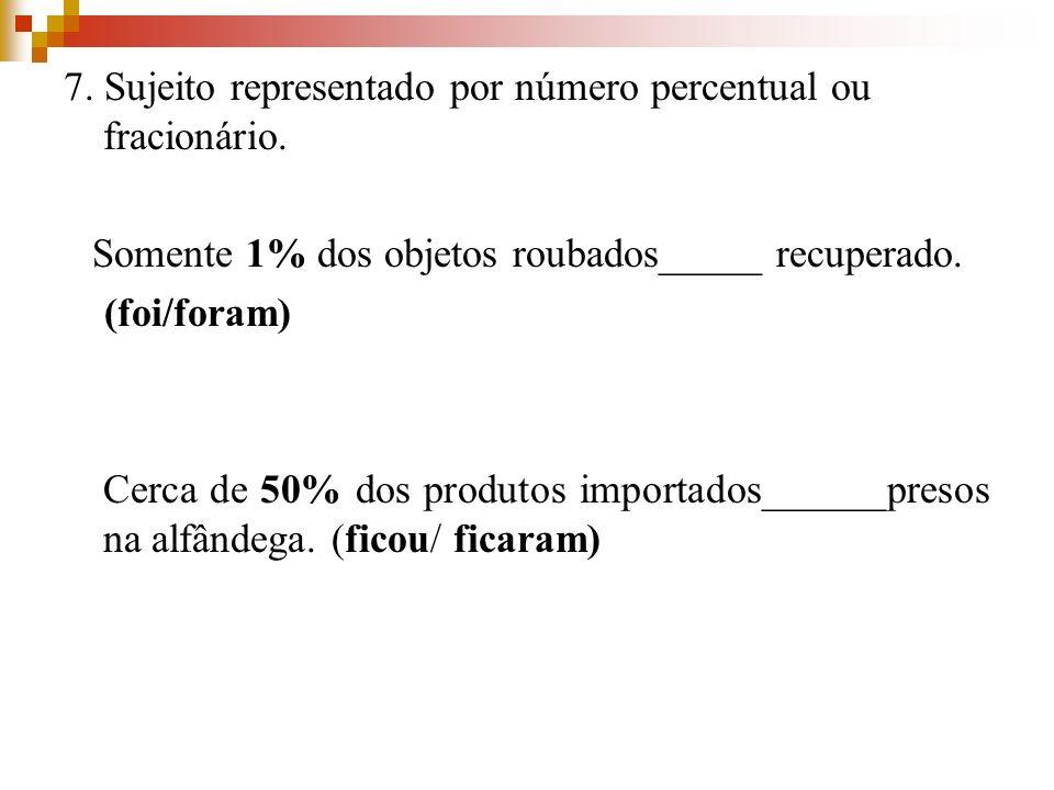 Somente 1% dos objetos roubados_____ recuperado.