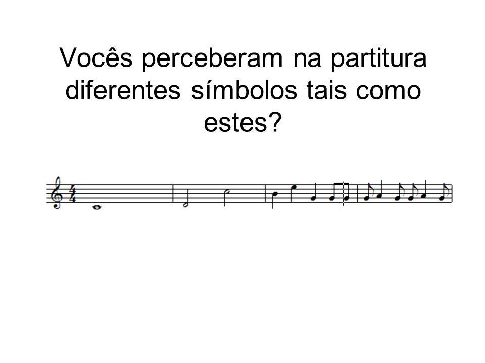 Vocês perceberam na partitura diferentes símbolos tais como estes