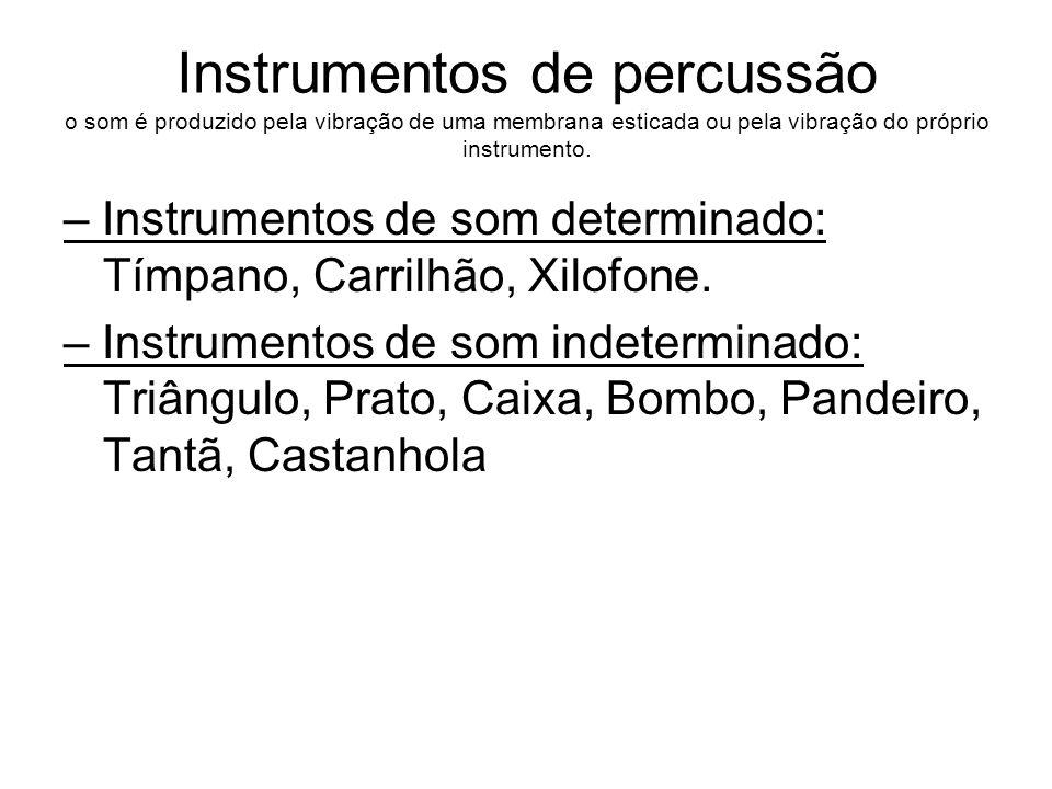 Instrumentos de percussão o som é produzido pela vibração de uma membrana esticada ou pela vibração do próprio instrumento.