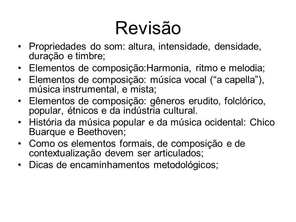 Revisão Propriedades do som: altura, intensidade, densidade, duração e timbre; Elementos de composição:Harmonia, ritmo e melodia;