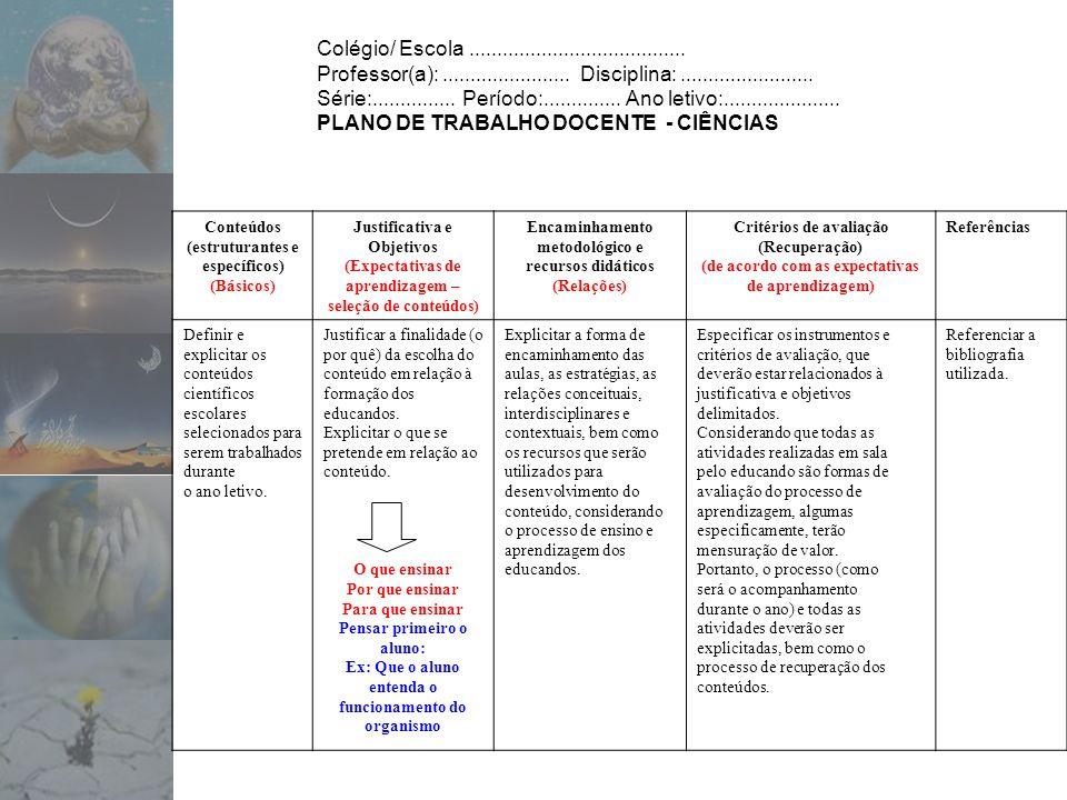 PLANO DE TRABALHO DOCENTE - CIÊNCIAS