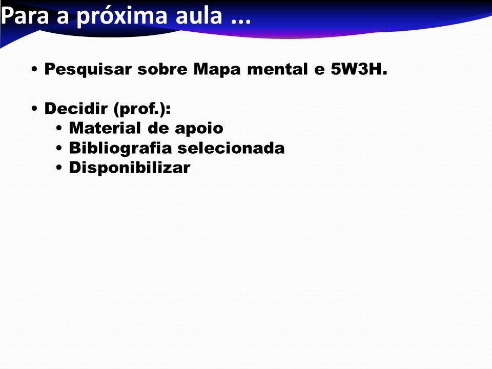 Para a próxima aula ... Pesquisar sobre Mapa mental e 5W3H.