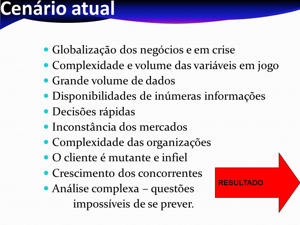 Cenário atual Globalização dos negócios e em crise