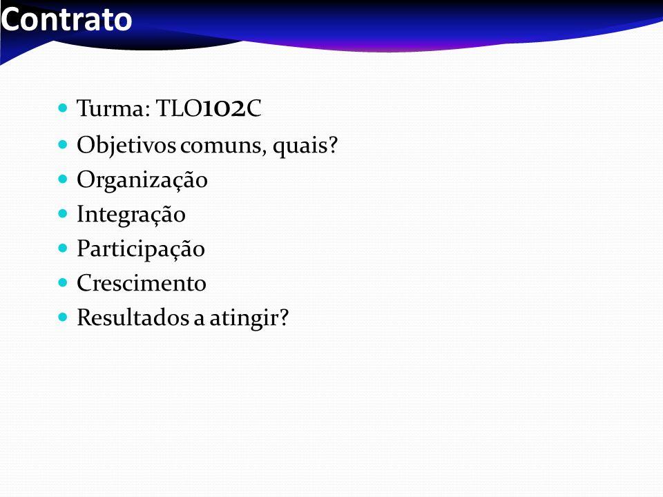 Contrato Turma: TLO102C Objetivos comuns, quais Organização