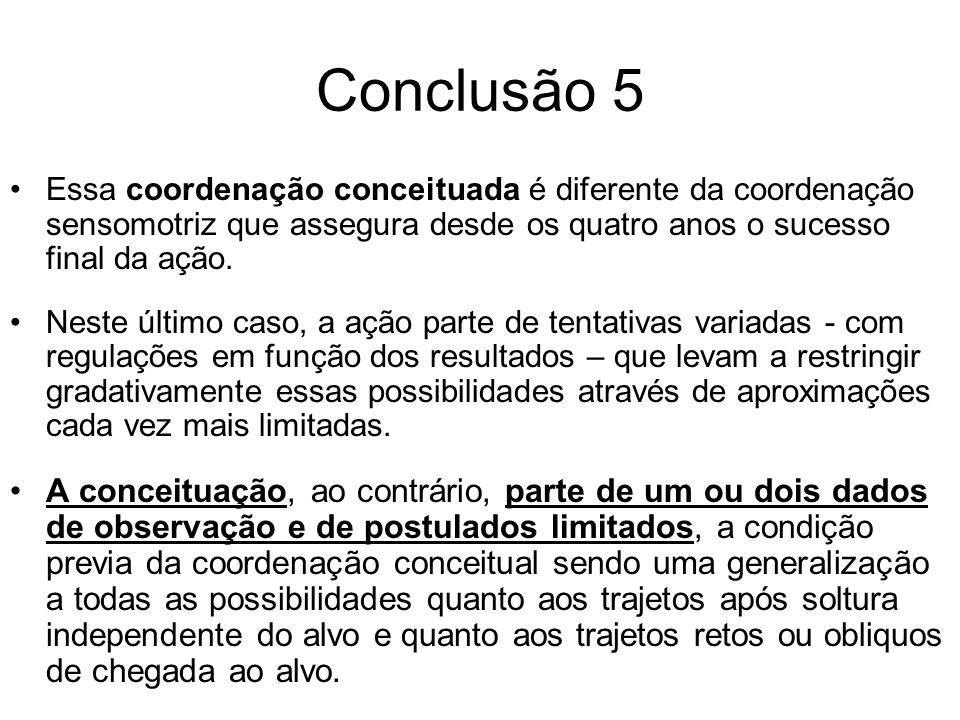 Conclusão 5 Essa coordenação conceituada é diferente da coordenação sensomotriz que assegura desde os quatro anos o sucesso final da ação.