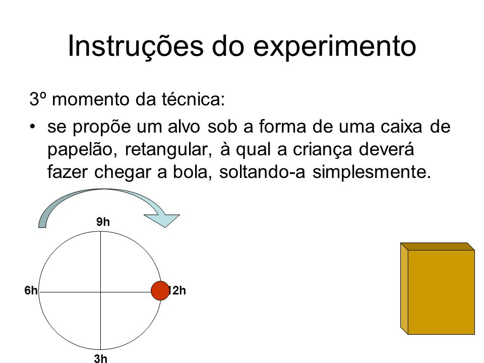 Instruções do experimento